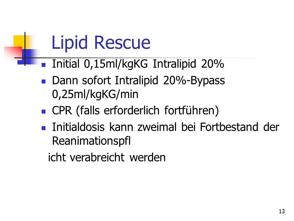 Lipid Rescue Initial 0,15ml/kgKG Intralipid 20%
