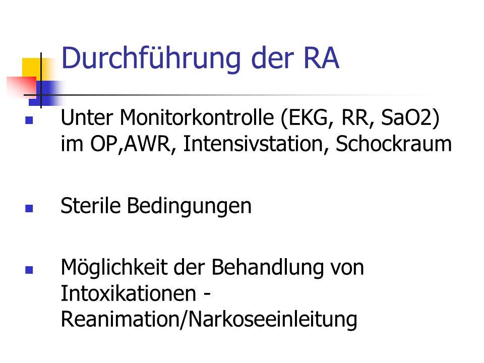 Durchführung der RA Unter Monitorkontrolle (EKG, RR, SaO2) im OP,AWR, Intensivstation, Schockraum. Sterile Bedingungen.