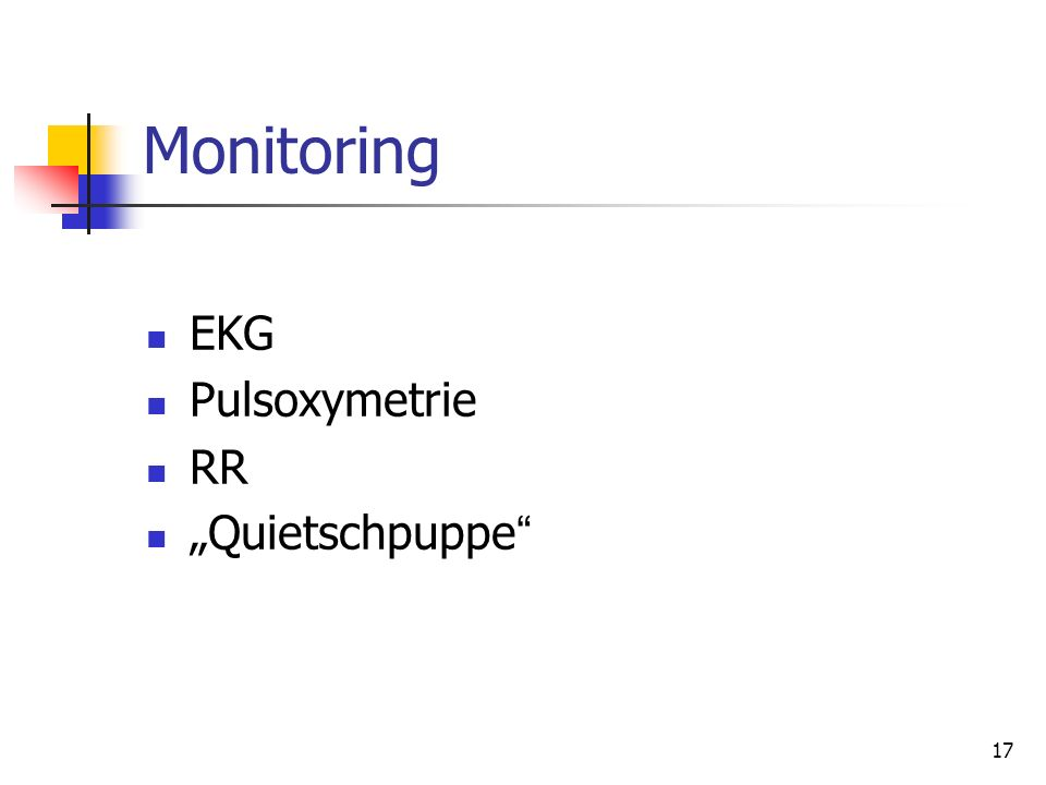 "Monitoring EKG Pulsoxymetrie RR ""Quietschpuppe"