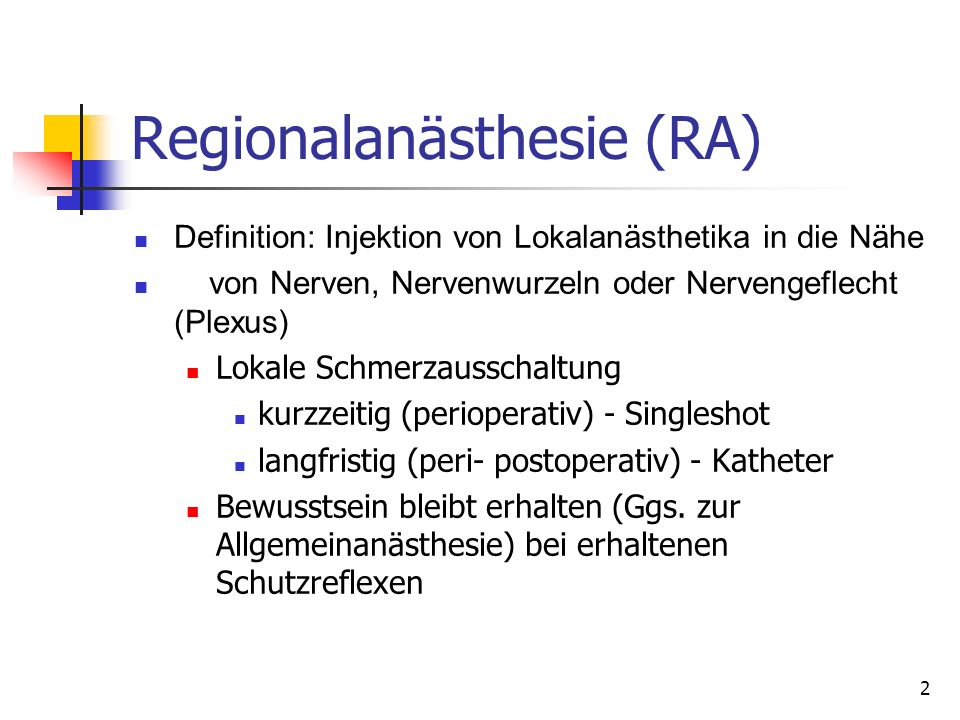 Regionalanästhesie (RA)