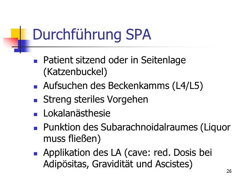 Durchführung SPA Patient sitzend oder in Seitenlage (Katzenbuckel)