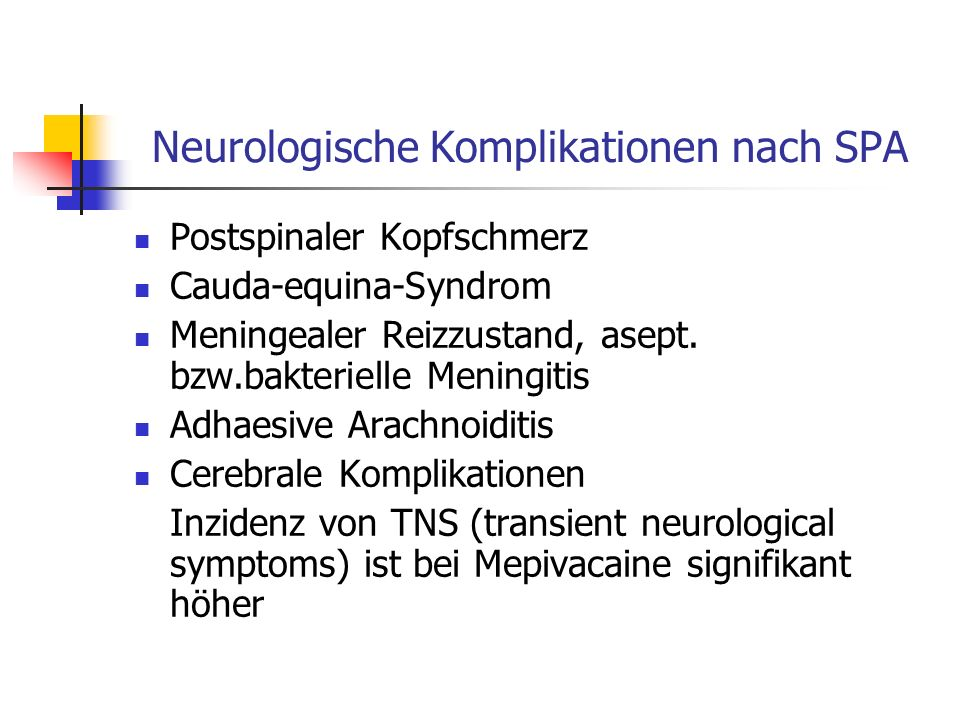 Neurologische Komplikationen nach SPA