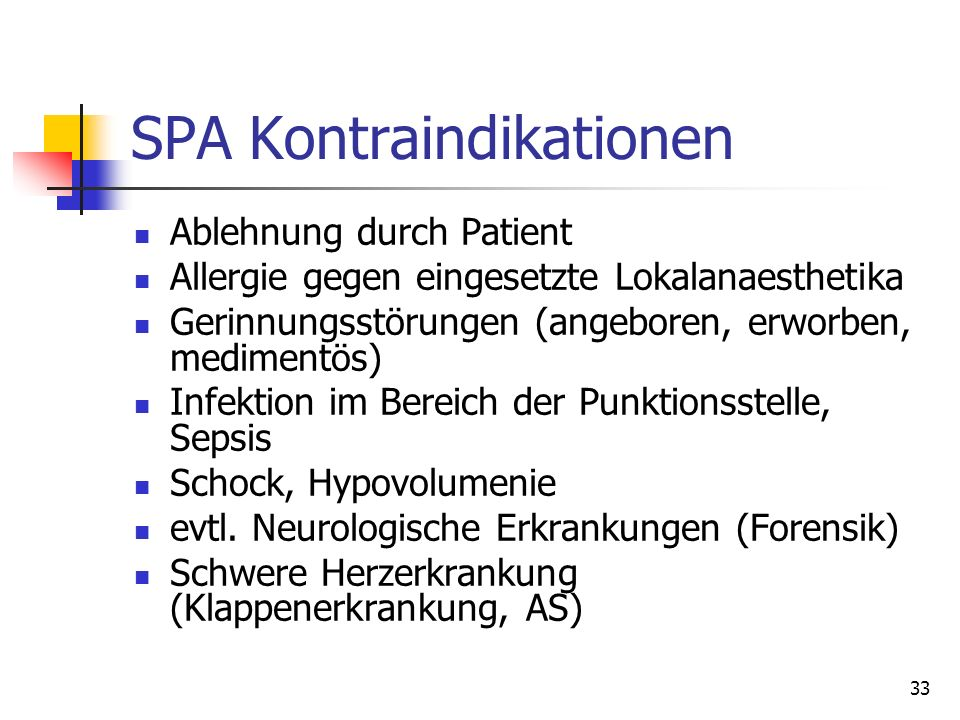 SPA Kontraindikationen