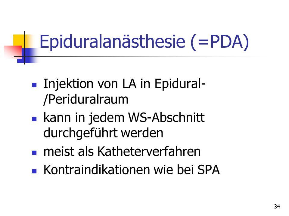 Epiduralanästhesie (=PDA)