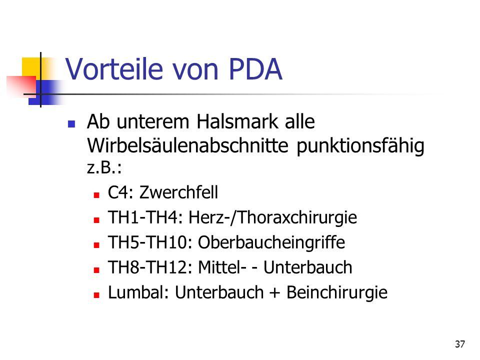 Vorteile von PDA Ab unterem Halsmark alle Wirbelsäulenabschnitte punktionsfähig z.B.: C4: Zwerchfell.