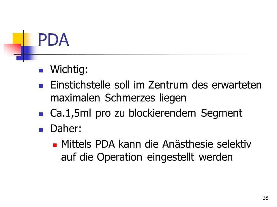 PDA Wichtig: Einstichstelle soll im Zentrum des erwarteten maximalen Schmerzes liegen. Ca.1,5ml pro zu blockierendem Segment.