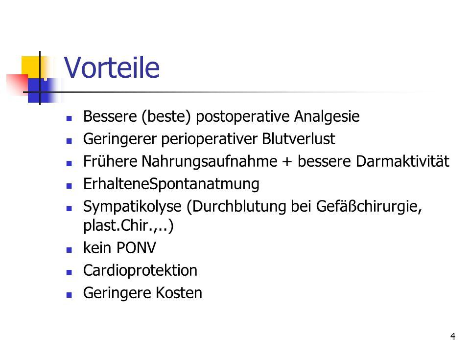 Vorteile Bessere (beste) postoperative Analgesie