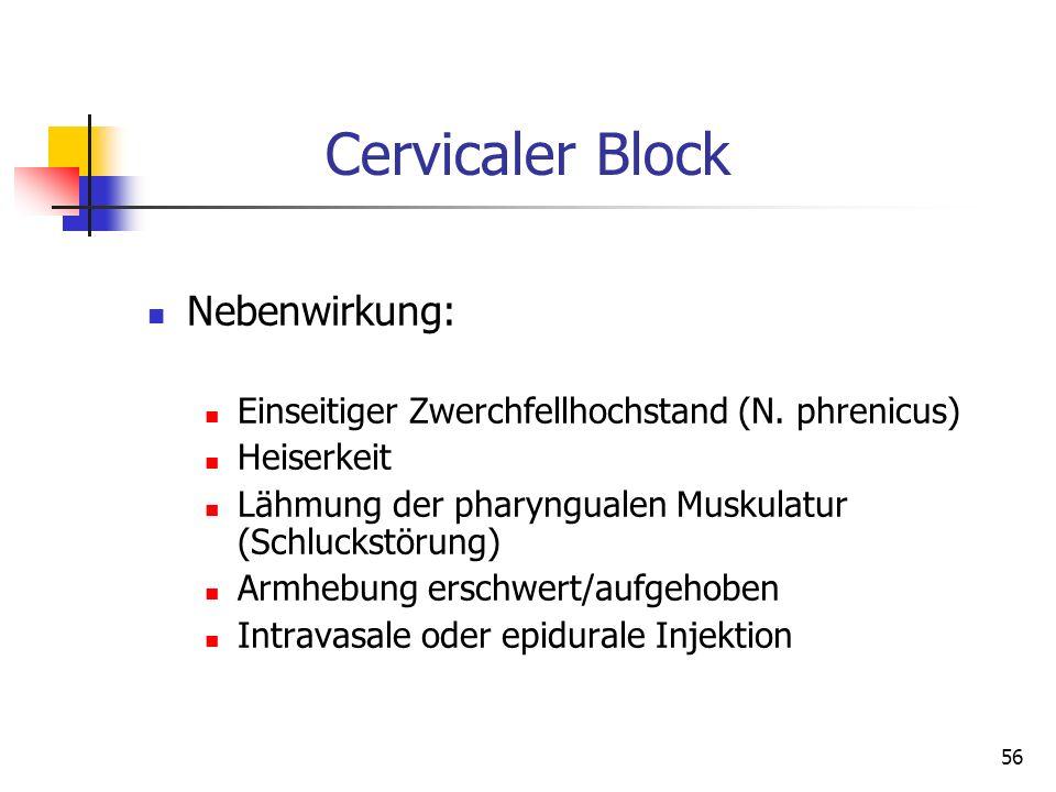 Cervicaler Block Nebenwirkung: