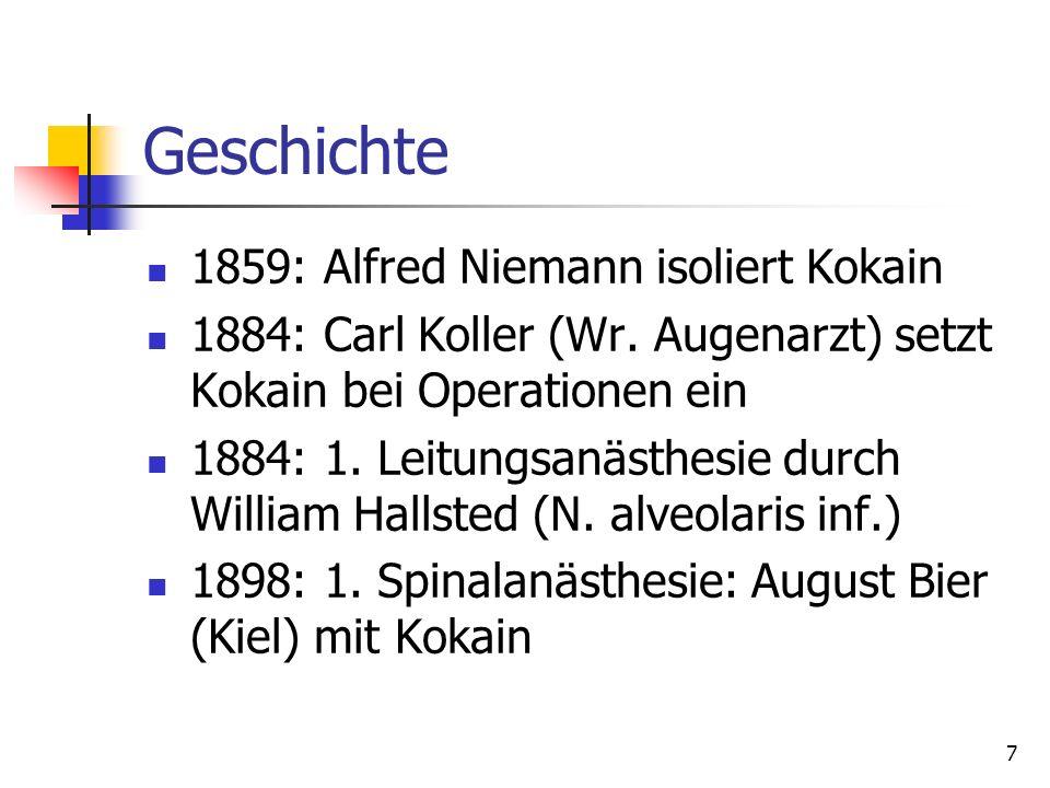 Geschichte 1859: Alfred Niemann isoliert Kokain