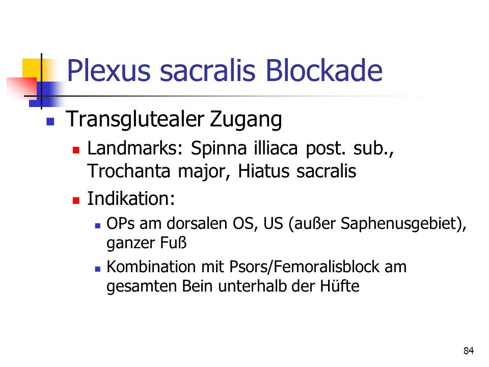 Plexus sacralis Blockade