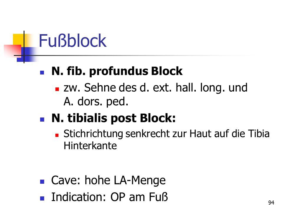 Fußblock N. tibialis post Block: Cave: hohe LA-Menge