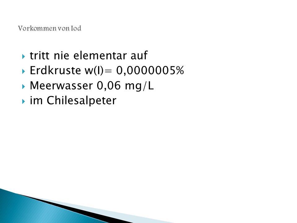 tritt nie elementar auf Erdkruste w(I)= 0,0000005%
