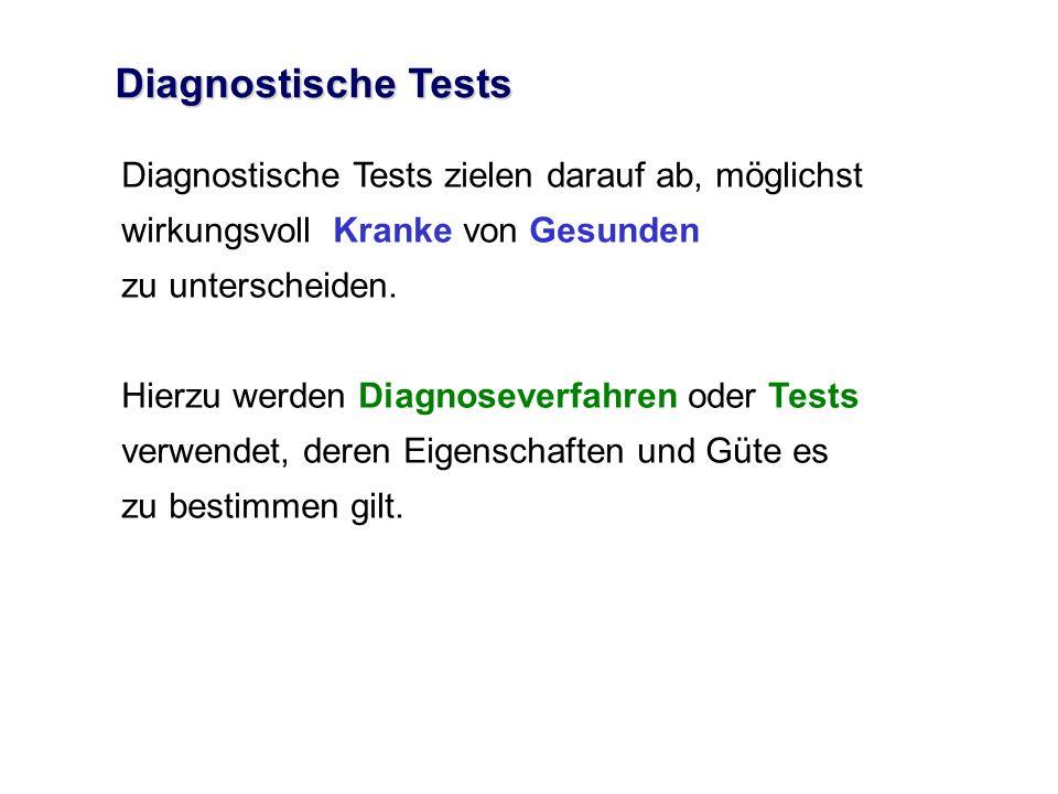 Diagnostische Tests Diagnostische Tests zielen darauf ab, möglichst