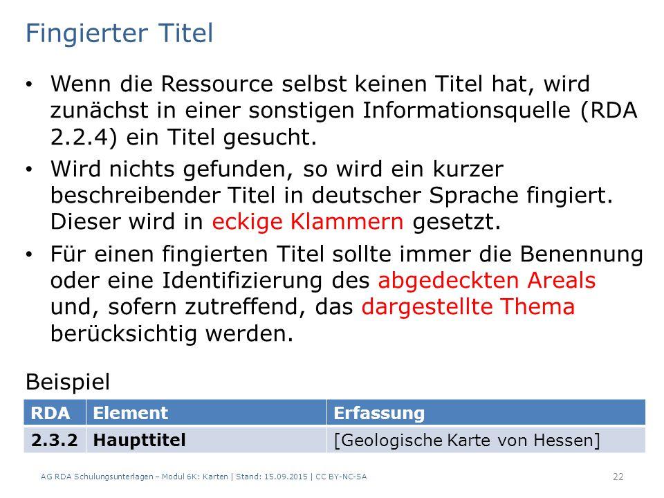Fingierter Titel Wenn die Ressource selbst keinen Titel hat, wird zunächst in einer sonstigen Informationsquelle (RDA 2.2.4) ein Titel gesucht.