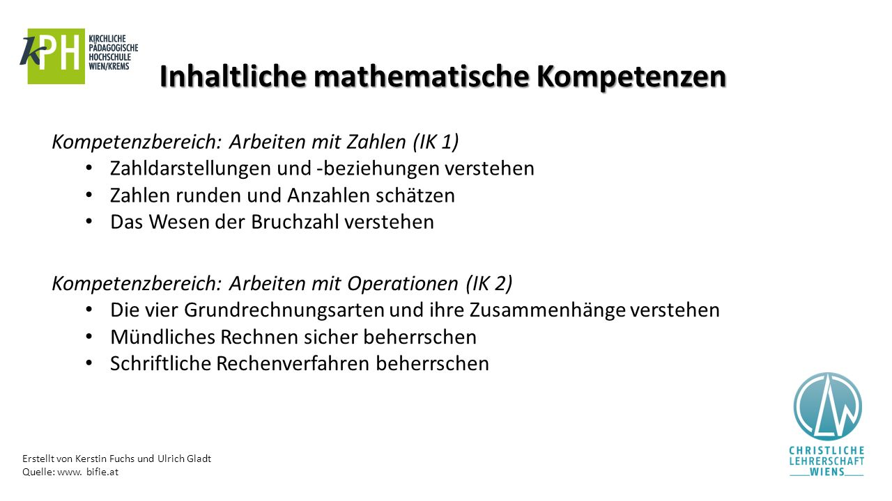 Inhaltliche mathematische Kompetenzen