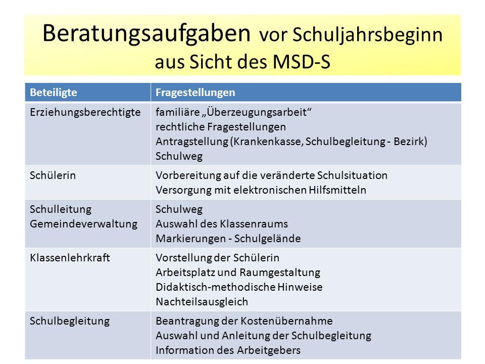 Beratungsaufgaben vor Schuljahrsbeginn aus Sicht des MSD-S