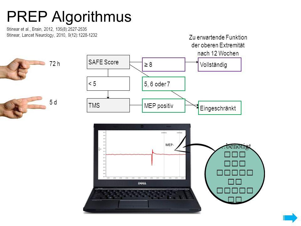PREP Algorithmus Gibt es durch TMS keine motorische Antwort…