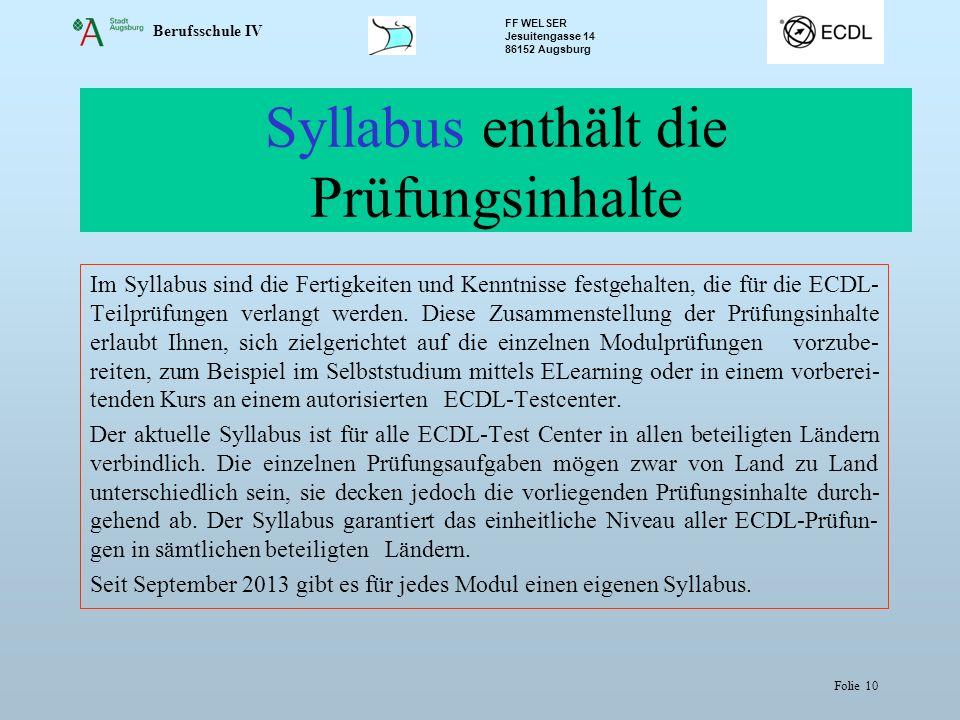 Syllabus enthält die Prüfungsinhalte