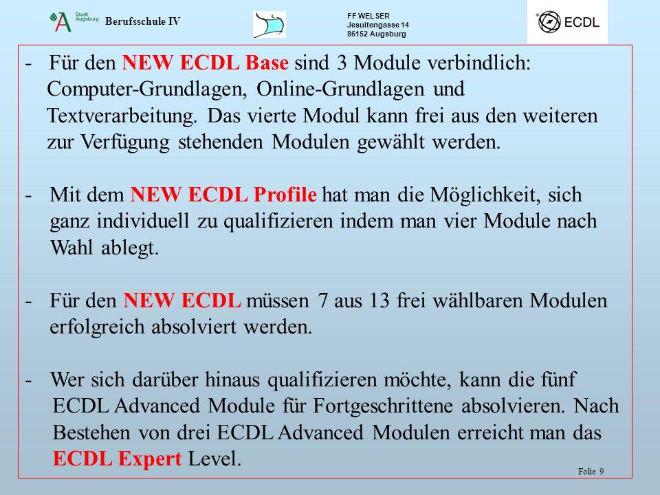 - Für den NEW ECDL Base sind 3 Module verbindlich: