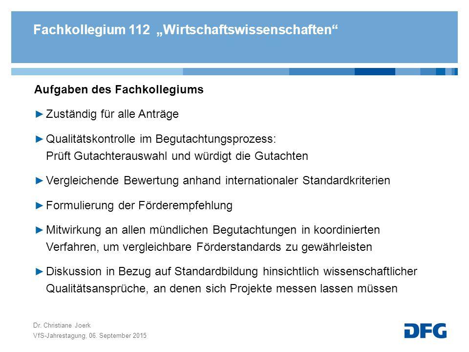 """Fachkollegium 112 """"Wirtschaftswissenschaften"""