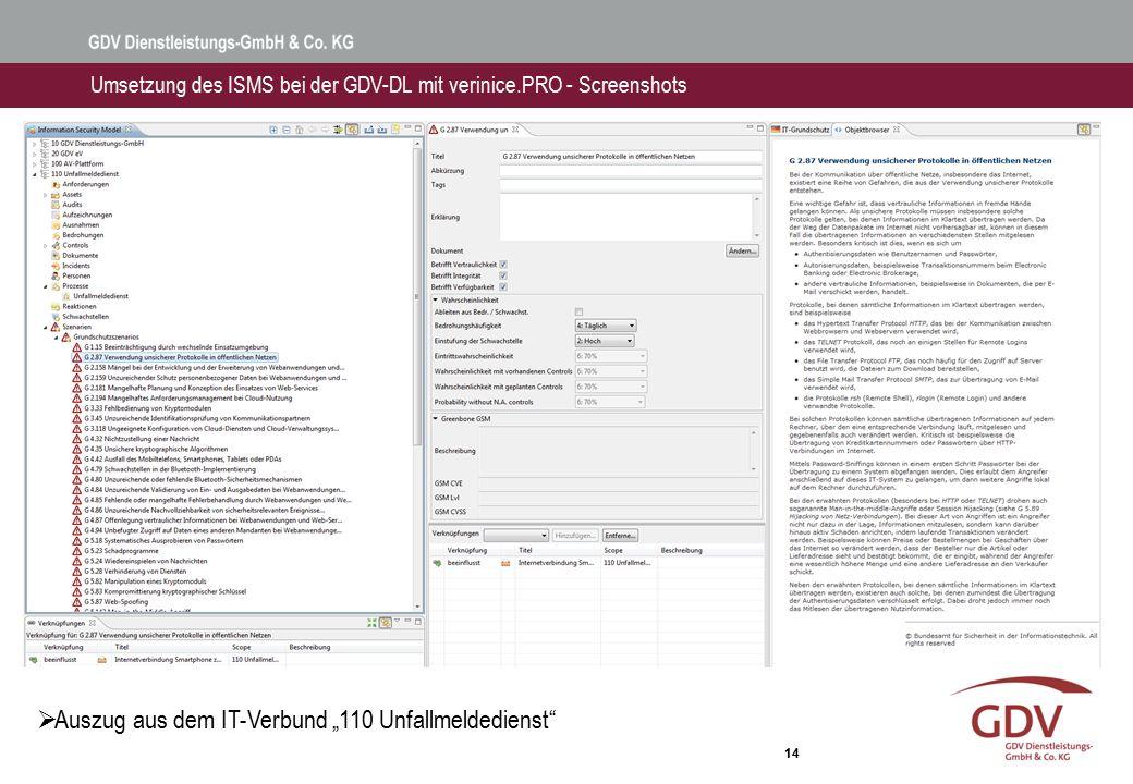 Umsetzung des ISMS bei der GDV-DL mit verinice.PRO - Screenshots