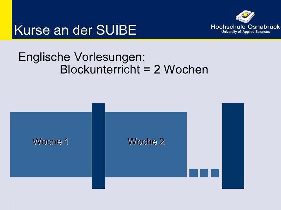 Kurse an der SUIBE Englische Vorlesungen: Blockunterricht = 2 Wochen