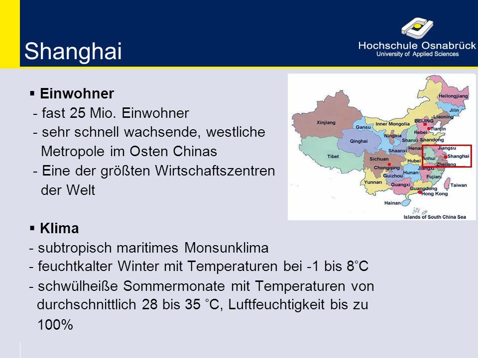 Shanghai Einwohner - fast 25 Mio. Einwohner