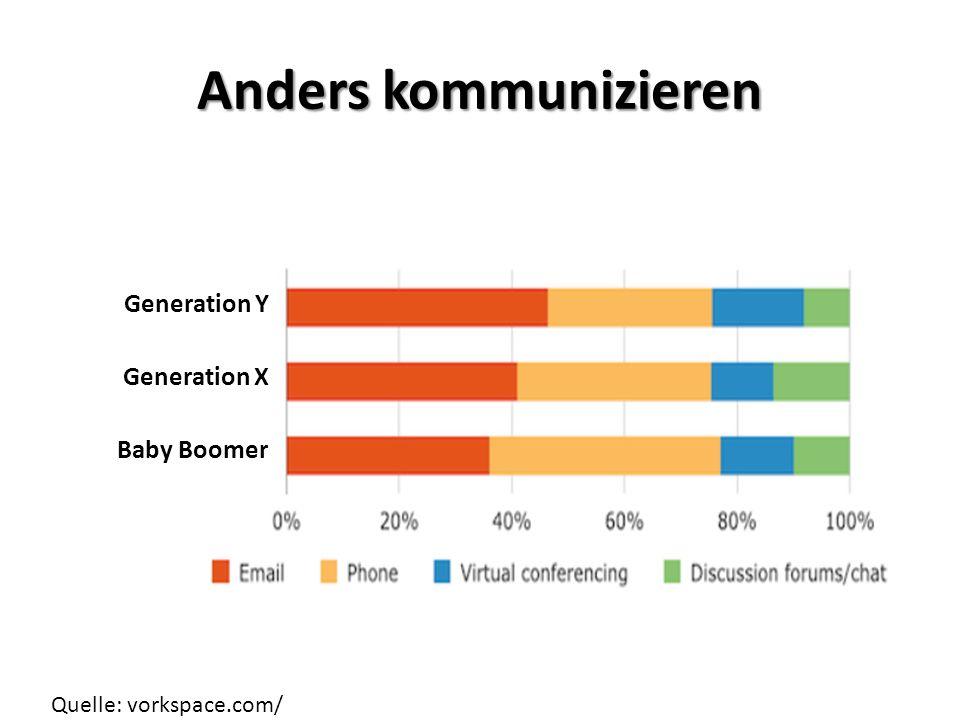 Anders kommunizieren Generation Y Generation X Baby Boomer