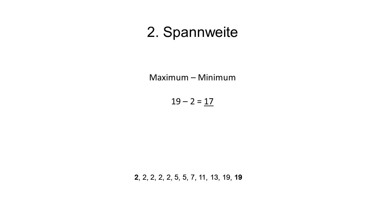 2. Spannweite Maximum – Minimum 19 – 2 = 17