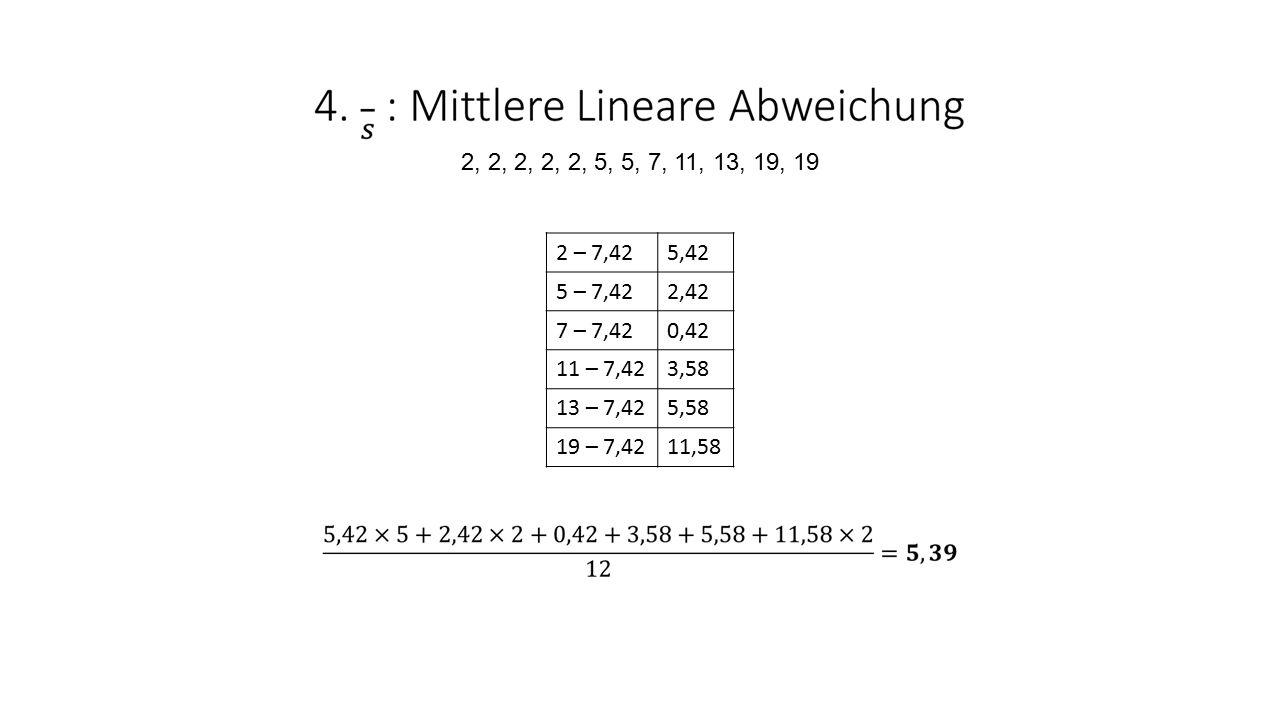 2, 2, 2, 2, 2, 5, 5, 7, 11, 13, 19, 19. 2 – 7,42. 5,42. 5 – 7,42. 2,42. 7 – 7,42. 0,42. 11 – 7,42.