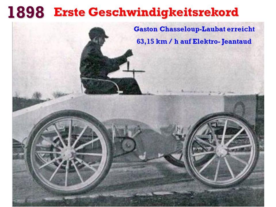 Gaston Chasseloup-Laubat erreicht 63,15 km / h auf Elektro- Jeantaud