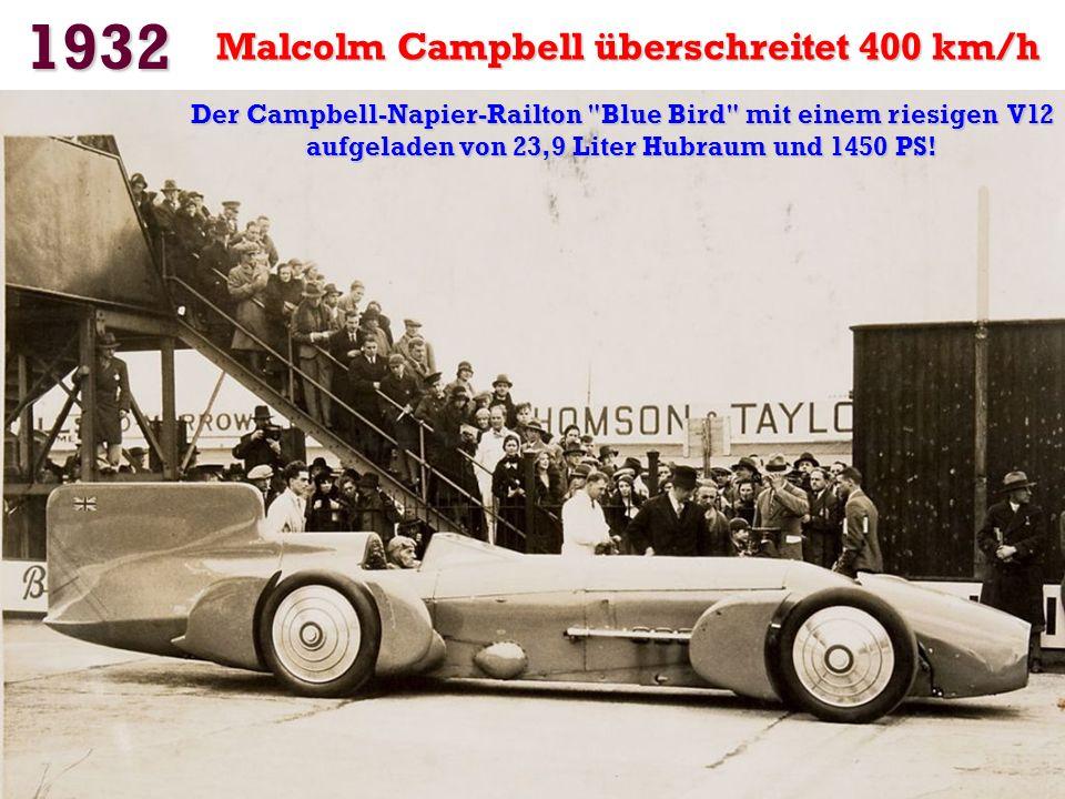 1932 Malcolm Campbell überschreitet 400 km/h