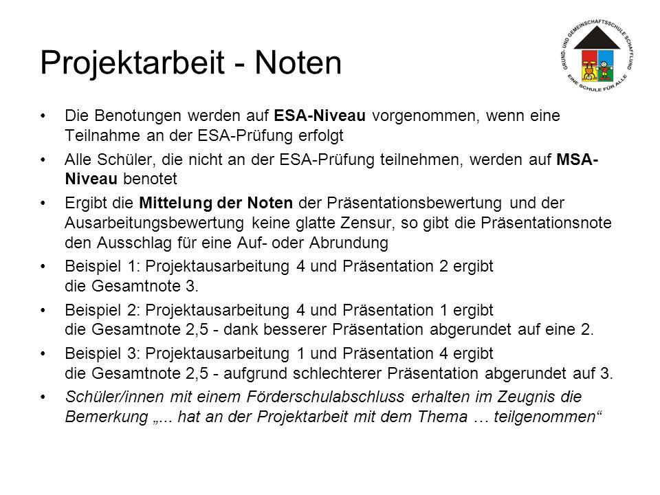 Projektarbeit - Noten Die Benotungen werden auf ESA-Niveau vorgenommen, wenn eine Teilnahme an der ESA-Prüfung erfolgt.