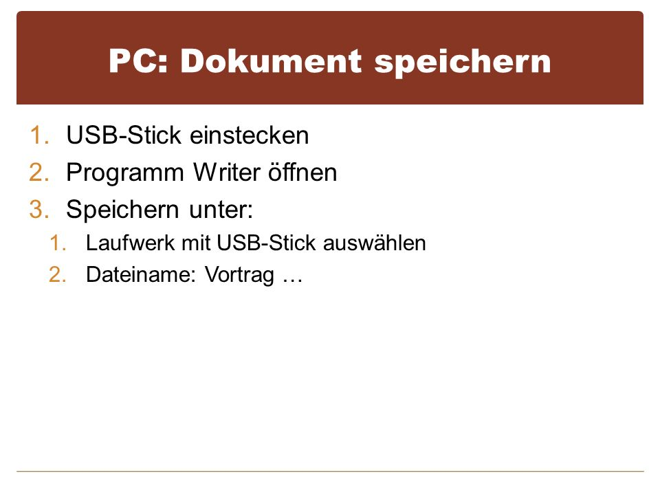 PC: Dokument speichern