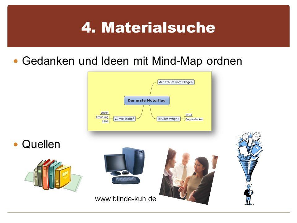 4. Materialsuche Gedanken und Ideen mit Mind-Map ordnen Quellen