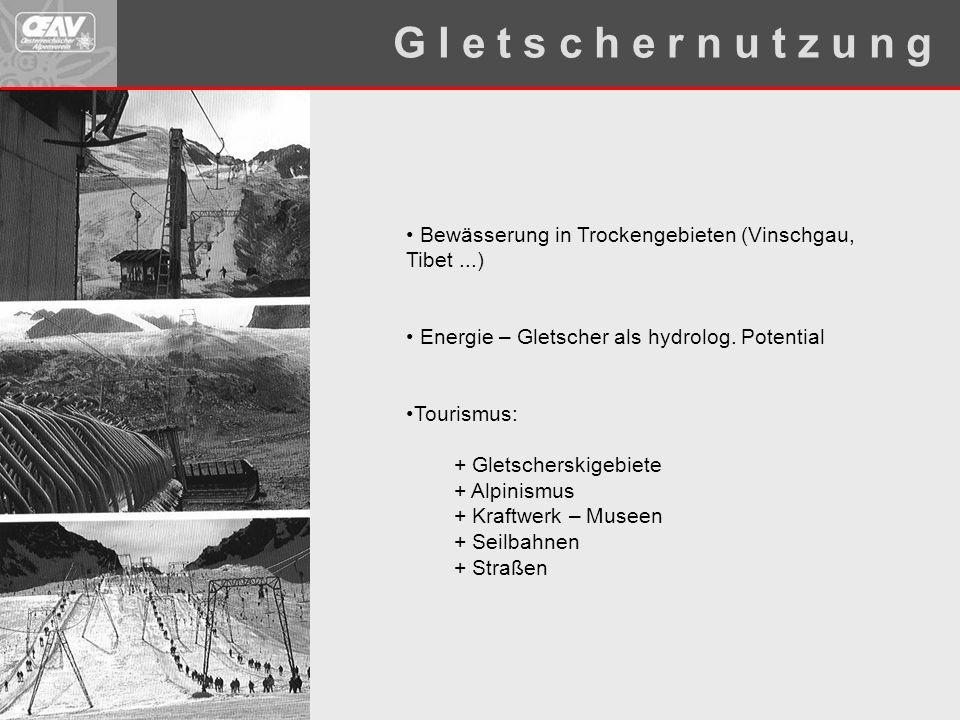 G l e t s c h e r n u t z u n g Bewässerung in Trockengebieten (Vinschgau, Tibet ...) Energie – Gletscher als hydrolog. Potential.