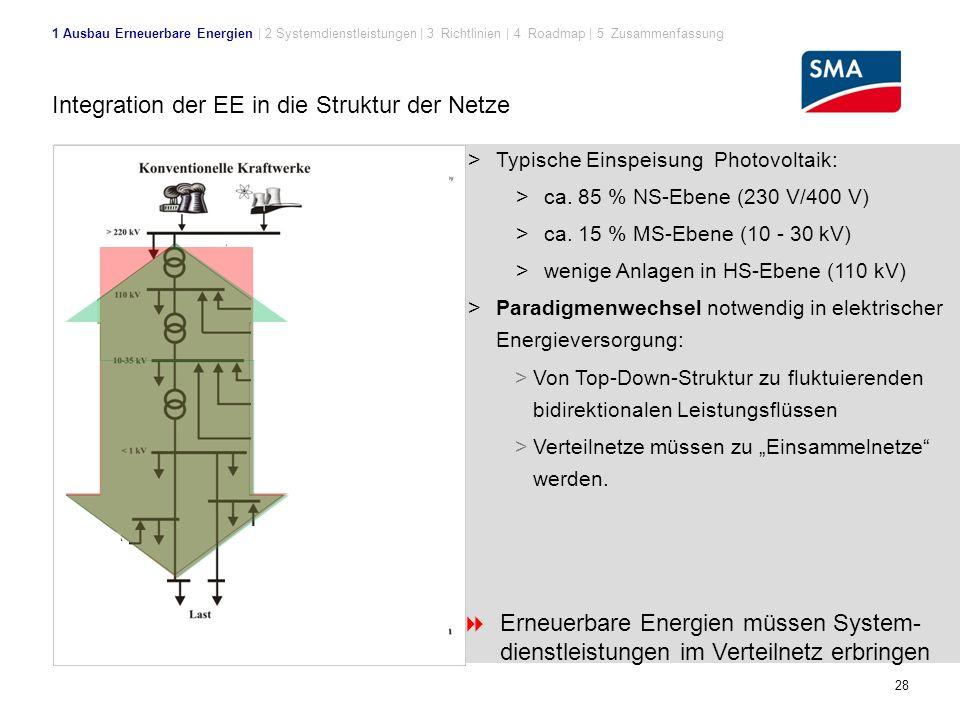 Integration der EE in die Struktur der Netze