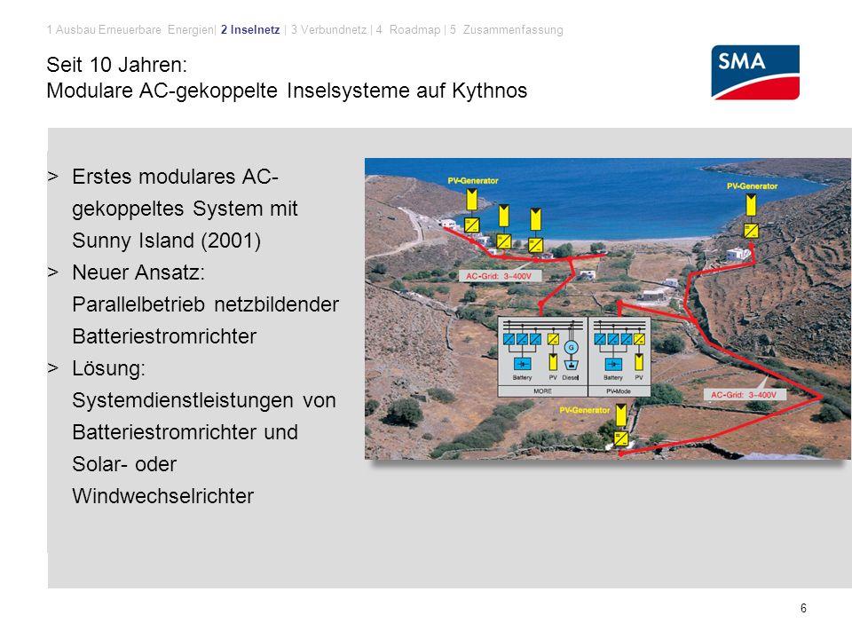 Modulare AC-gekoppelte Inselsysteme auf Kythnos