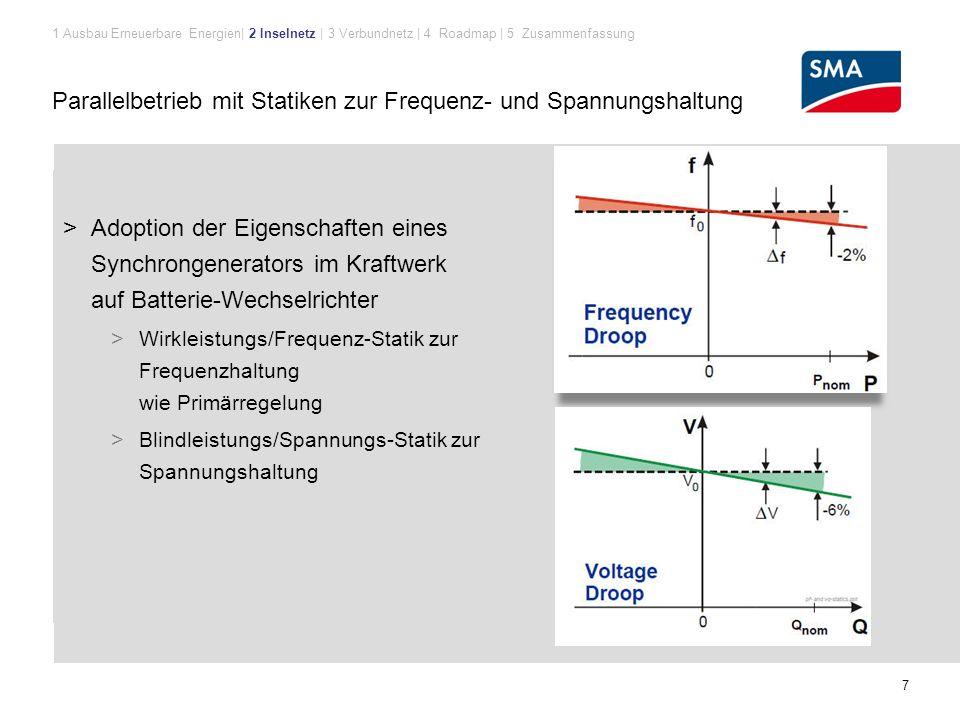 Parallelbetrieb mit Statiken zur Frequenz- und Spannungshaltung