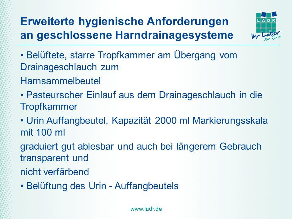 Erweiterte hygienische Anforderungen an geschlossene Harndrainagesysteme