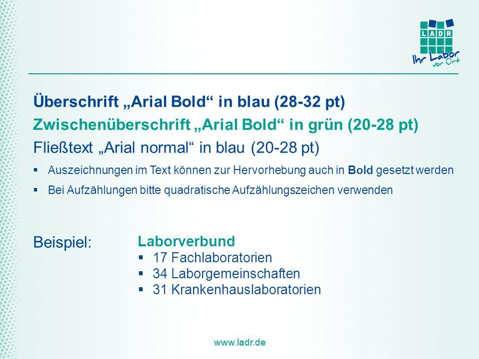 """Überschrift """"Arial Bold in blau (28-32 pt)"""