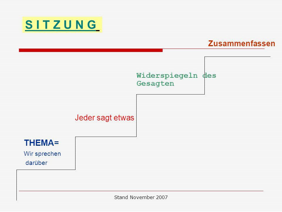 S I T Z U N G THEMA= Zusammenfassen Widerspiegeln des Gesagten