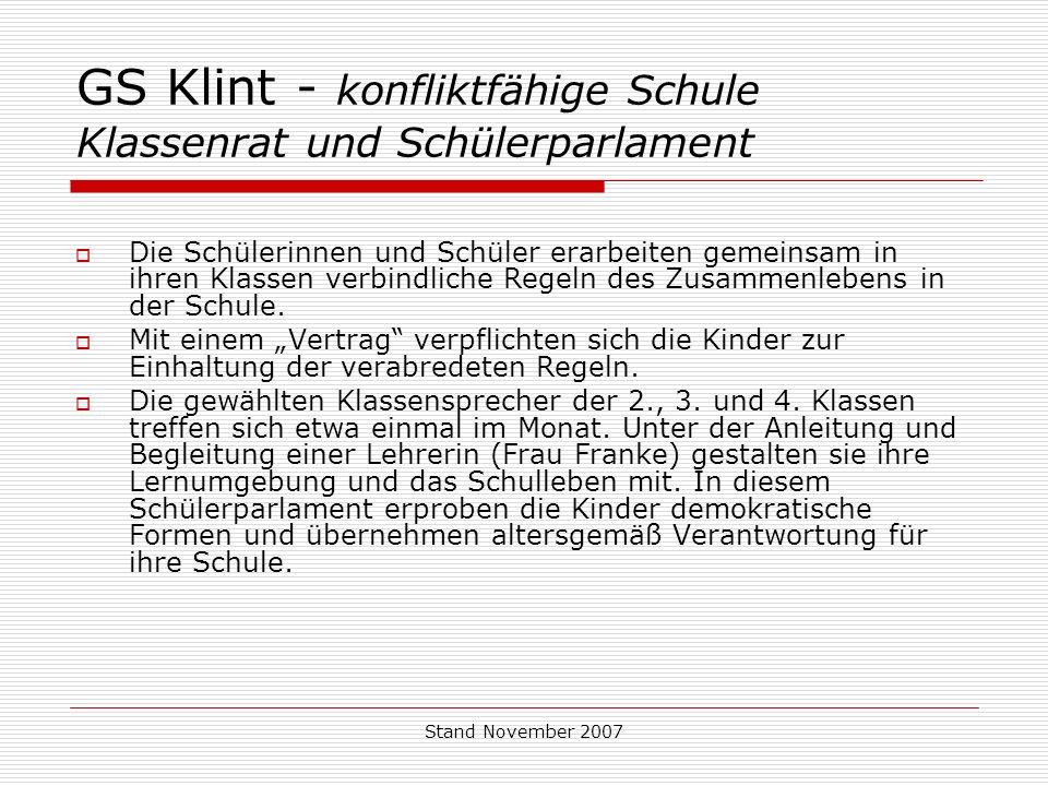 GS Klint - konfliktfähige Schule Klassenrat und Schülerparlament