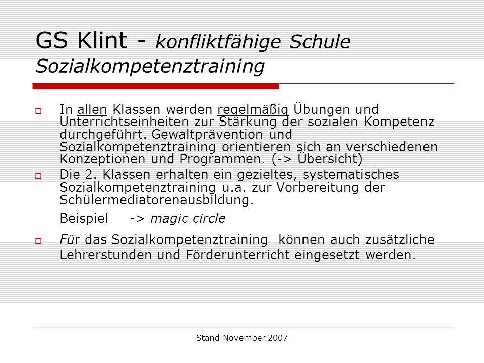 GS Klint - konfliktfähige Schule Sozialkompetenztraining
