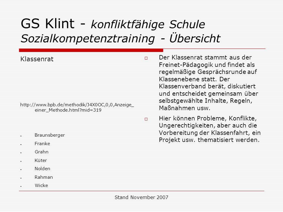 GS Klint - konfliktfähige Schule Sozialkompetenztraining - Übersicht
