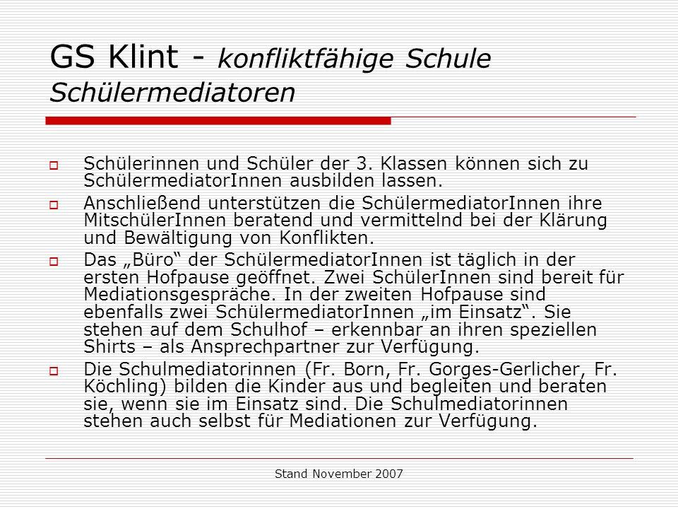 GS Klint - konfliktfähige Schule Schülermediatoren