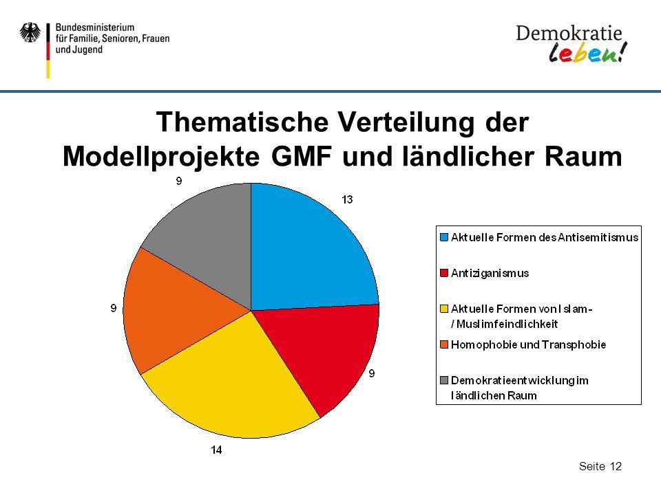 Thematische Verteilung der Modellprojekte GMF und ländlicher Raum