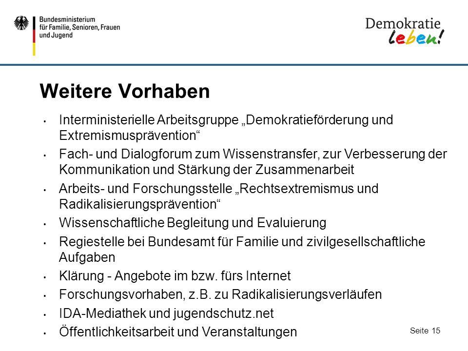 """Weitere Vorhaben Interministerielle Arbeitsgruppe """"Demokratieförderung und Extremismusprävention"""