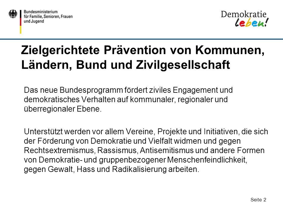 Zielgerichtete Prävention von Kommunen, Ländern, Bund und Zivilgesellschaft
