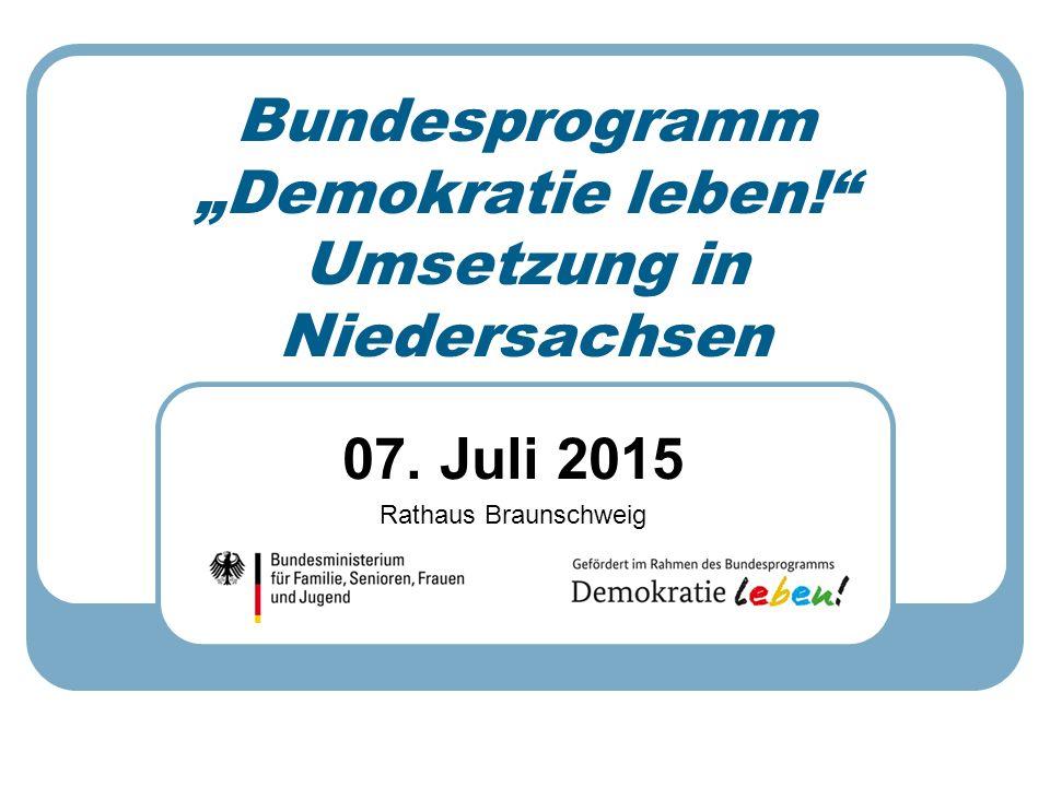 """Bundesprogramm """"Demokratie leben! Umsetzung in Niedersachsen"""